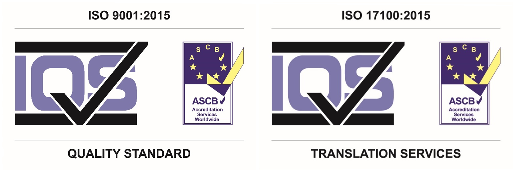 ISO9001:2015 and 17100:2015